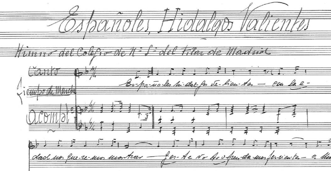 Partitura del himno del Colegio Ntra. del Pilar.